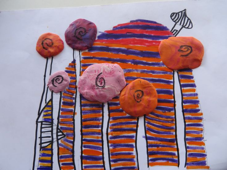 Hundertwasser drawings (with plasticine lollypop trees!)