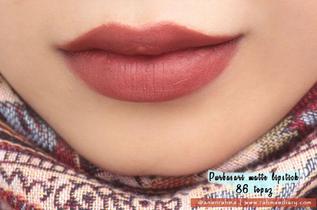 Swatch Purbasari Matte Lipstick 86 Topaz, brownish terracotta color <3 #mattelipstick #lipstickjunkie #bblogger #beauty
