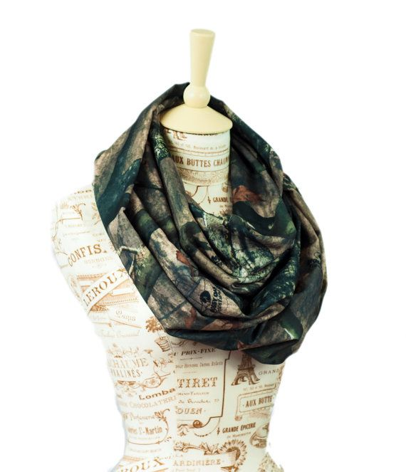 Mossy Oak Scarf Camo Infinity Circle loop fashion women's realtree real tree Camouflage by ForgottenCotton