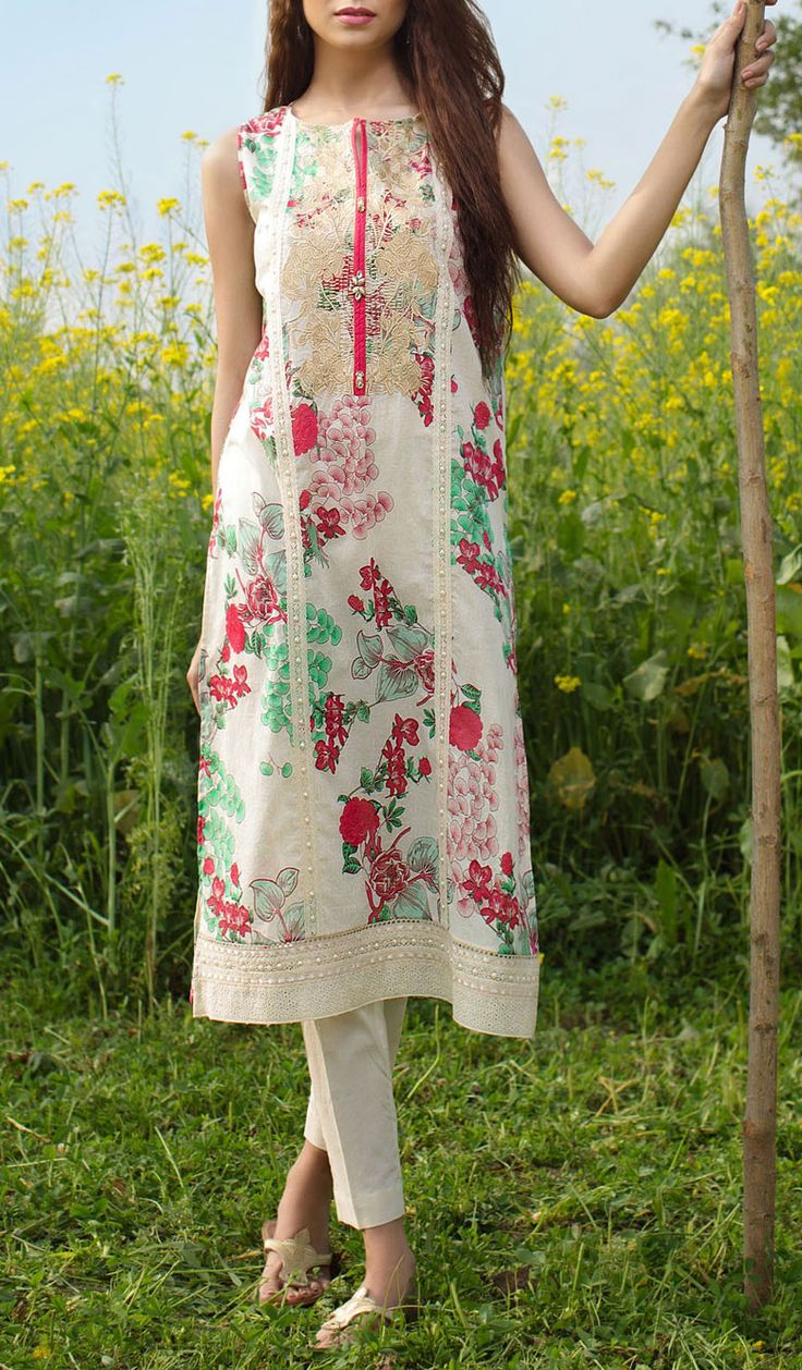 Buy Off-White Embroidered Cotton Lawn Dress (2pc) by Khaadi 2016                                                                                                                                                     More