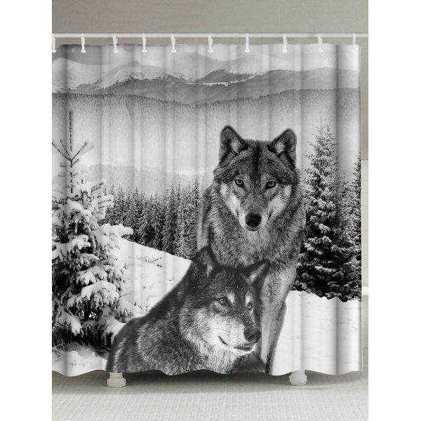Waterproof Fabric Wolf Animal Shower Curtain Grey White W59 Inch
