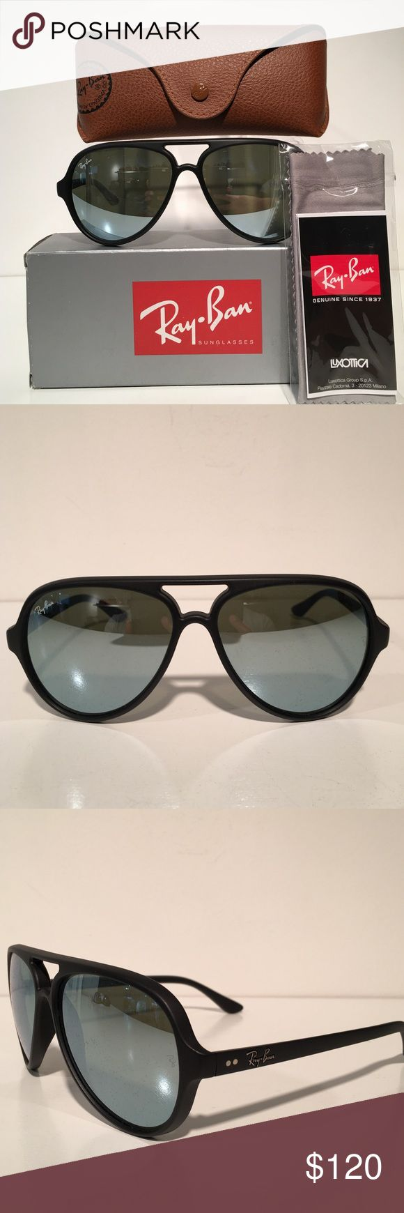 Ray-Ban Black Aviator Sunglasses Brand New In Case With Cloth. Made In Italy Ray-Ban Accessories Sunglasses