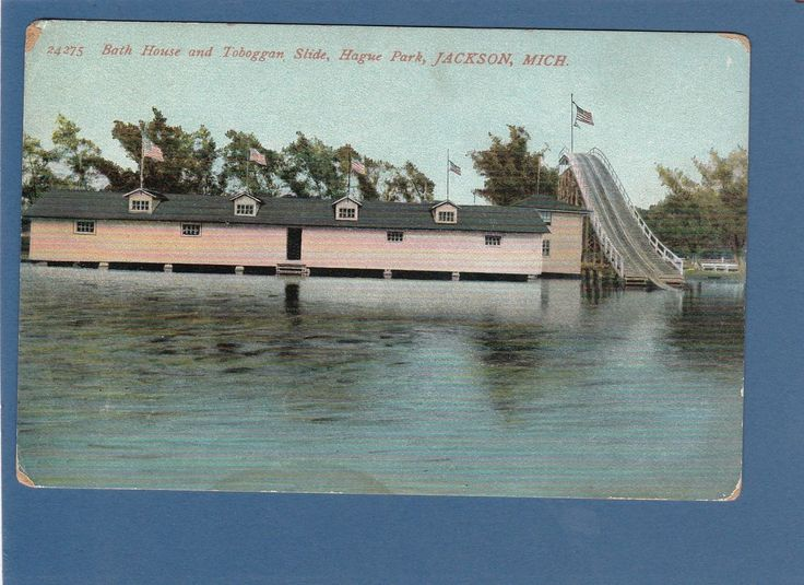 Postcard 24275 bath house and toboggan slide hague park for Bath house michigan