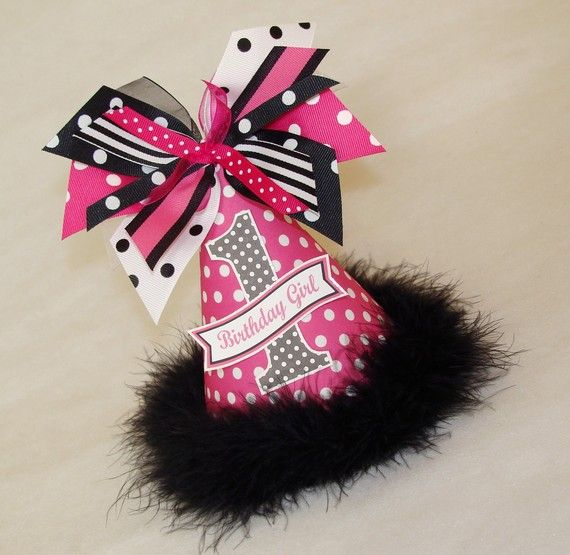 Hot Pink And Black Polka Dot Party Hat 1st Birthday HatsMinnie BirthdayMinnie Mouse