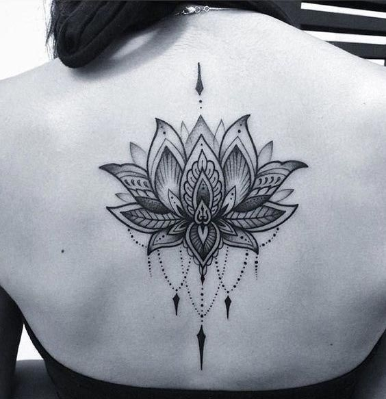 Lotus tattoo on back