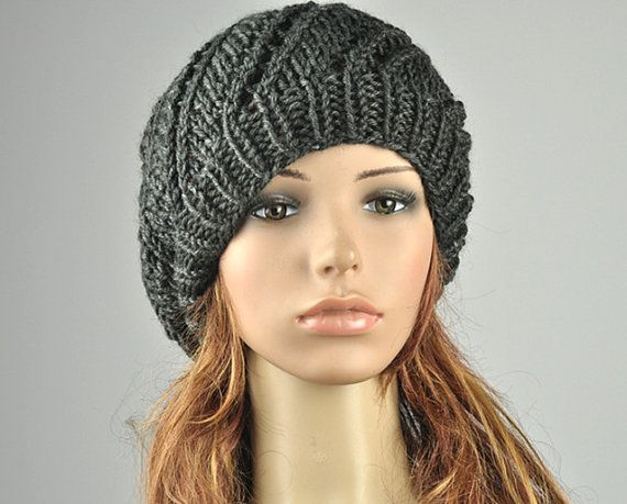 Hand Knit Hat Oversized Beret Charcoal Hat Wool Hat