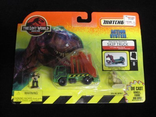 1997 Matchbox Jurassic Park Tracker/Trapper Skip Truck with Ian Malcolm and baby T-Rex The Lost Worl @ niftywarehouse.com #NiftyWarehouse #JurassicPark #Jurassic #Dinosaurs #Film #Dinosaur #Movies