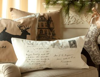 Good inspiration for vintage postcard throw pillow