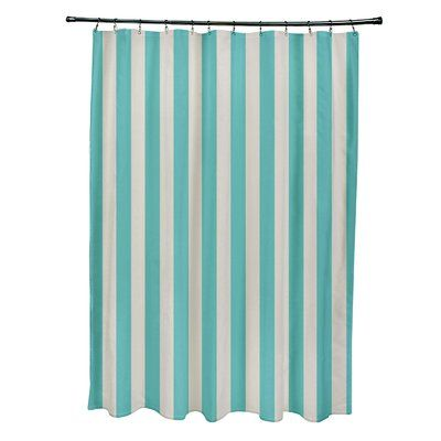 e by design Striped Shower Curtain Color: Latte/Jade