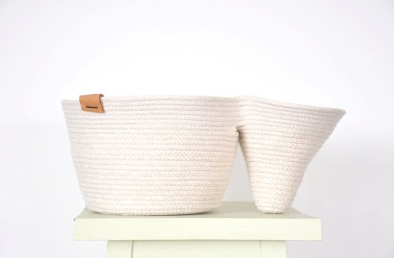 Project basket - coiled rope basket, double basket, sash cord basket, rope caddy, sculpture