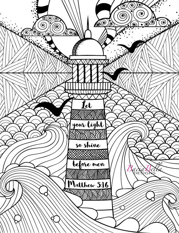 Zen Tangle Lighthouse Matthew 516 Adult Coloring Page Let Your Light