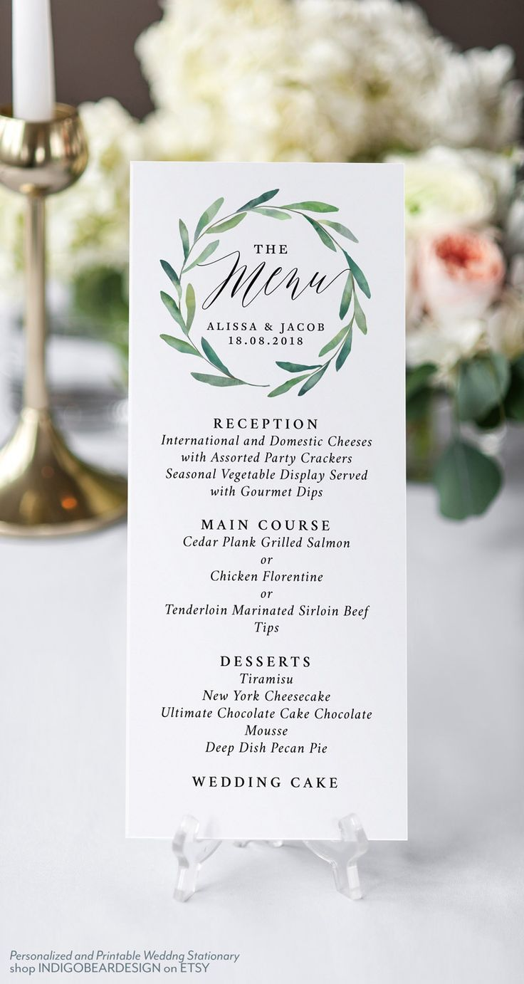 Wedding Menu Printable Menu Template Greenery Dinner Menu Etsy Wedding Menu Cards Printable Wedding Menu Wedding Table Menus