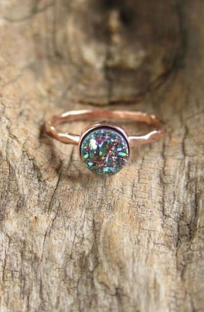 Spire Trends: Peacock Druzy Ring Tiny Titanium Druzy Quartz