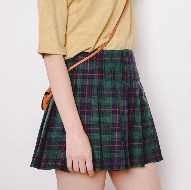 Весны новые женские юбки плиссированные юбки клетчатые юбки слово было тонкая талия корейский студент прилив