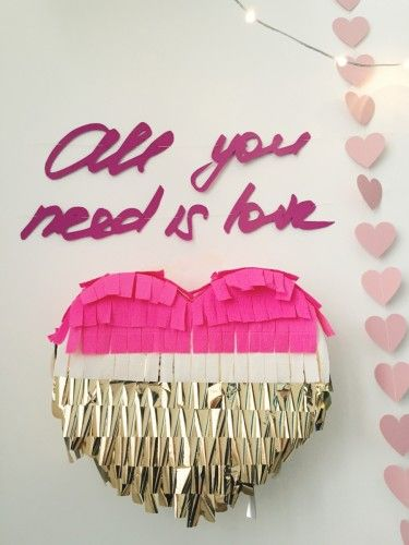 Valentine's day: all u need is love garland and heart shape  pinata