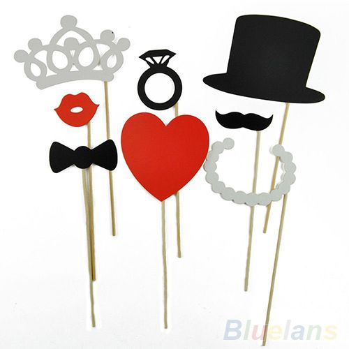 8Pcs DIY Photo Booth Props Mustache Lip Ring Heart Crown Stick Lovely Party Wedding Accessories 1TSG