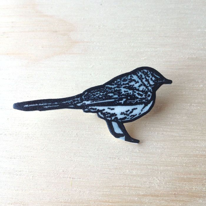 Little Nest Series -  Black & White Bird Brooch