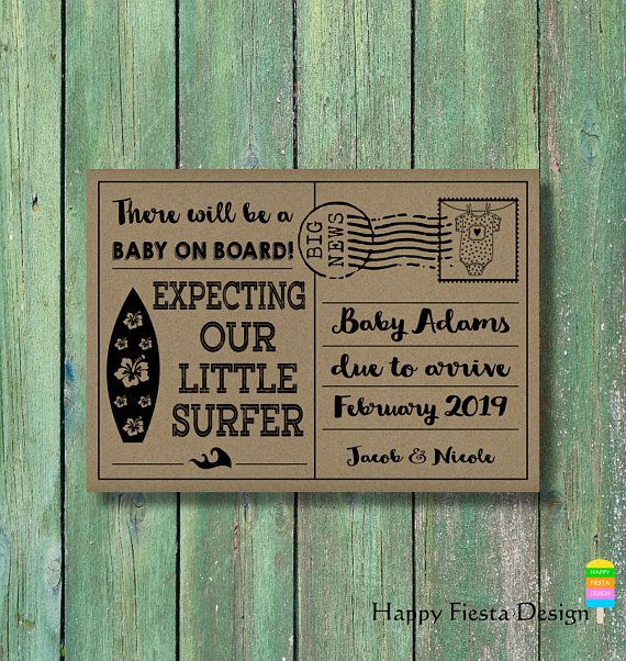 photograph about Printable Pregnancy Announcements known as PRINTABLE Being pregnant Announcement Card-Surf Boy or girl Explain Card