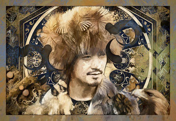 """The Mongol Prince by Daniel Arrhakis (2018)   With the music : Tuvan Throat Singing  youtu.be/qx8hrhBZJ98   Textured layered art, art collage and several digital painting processes.    A New Series about """" The Mystic And  Legends Of Mongolian Lands And People"""".    Be Welcome and See My  Limited   Editions in my Gallery on :   www.curioos.com/arrhakis     ________________________________________________"""