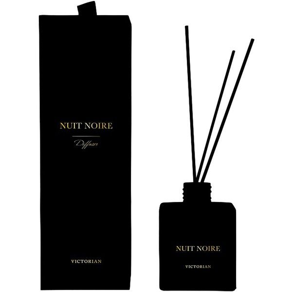 Victorian Candles Velvet Diffuser Nuit Noire ($37) ❤ liked on Polyvore featuring home, home decor, beauty home, black, hygiene, womens-fashion, black home decor and victorian home decor