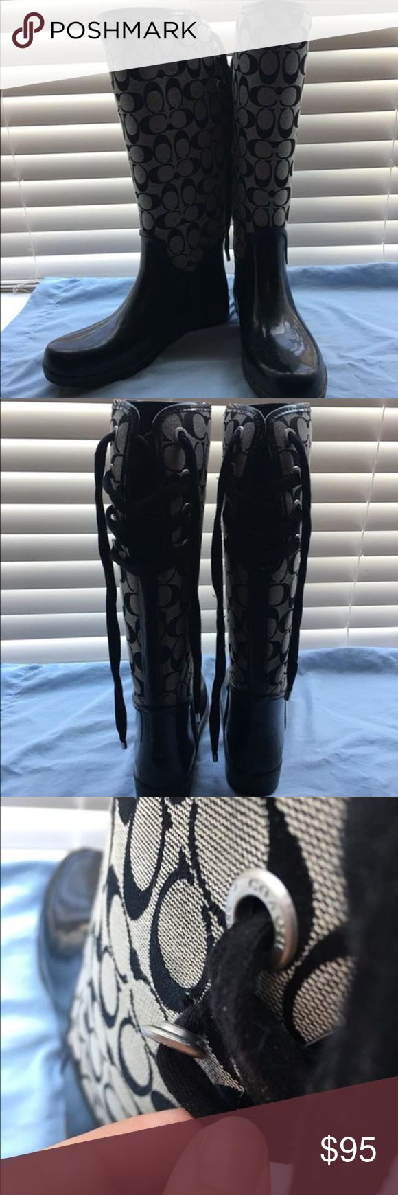Coach Rain Boots Coach Tristee Rain Boots with some minor flaws! In mint condition. Hardly worn! Coach Shoes Winter & Rain Boots