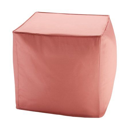 Home Essence Grove Solid 3M Scotchgard Outdoor Square Pouf, Orange