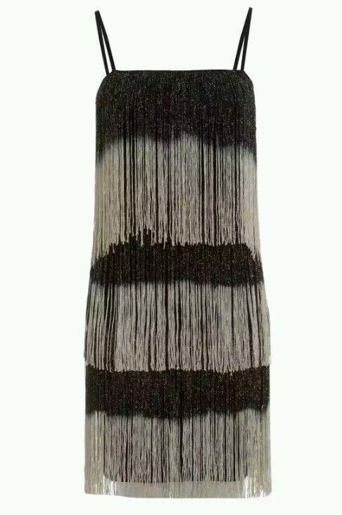 NEW Miss Selfridge Vintage 20 s Gatsby Flapper Swing Fringe Dress 6 8 10 12 14