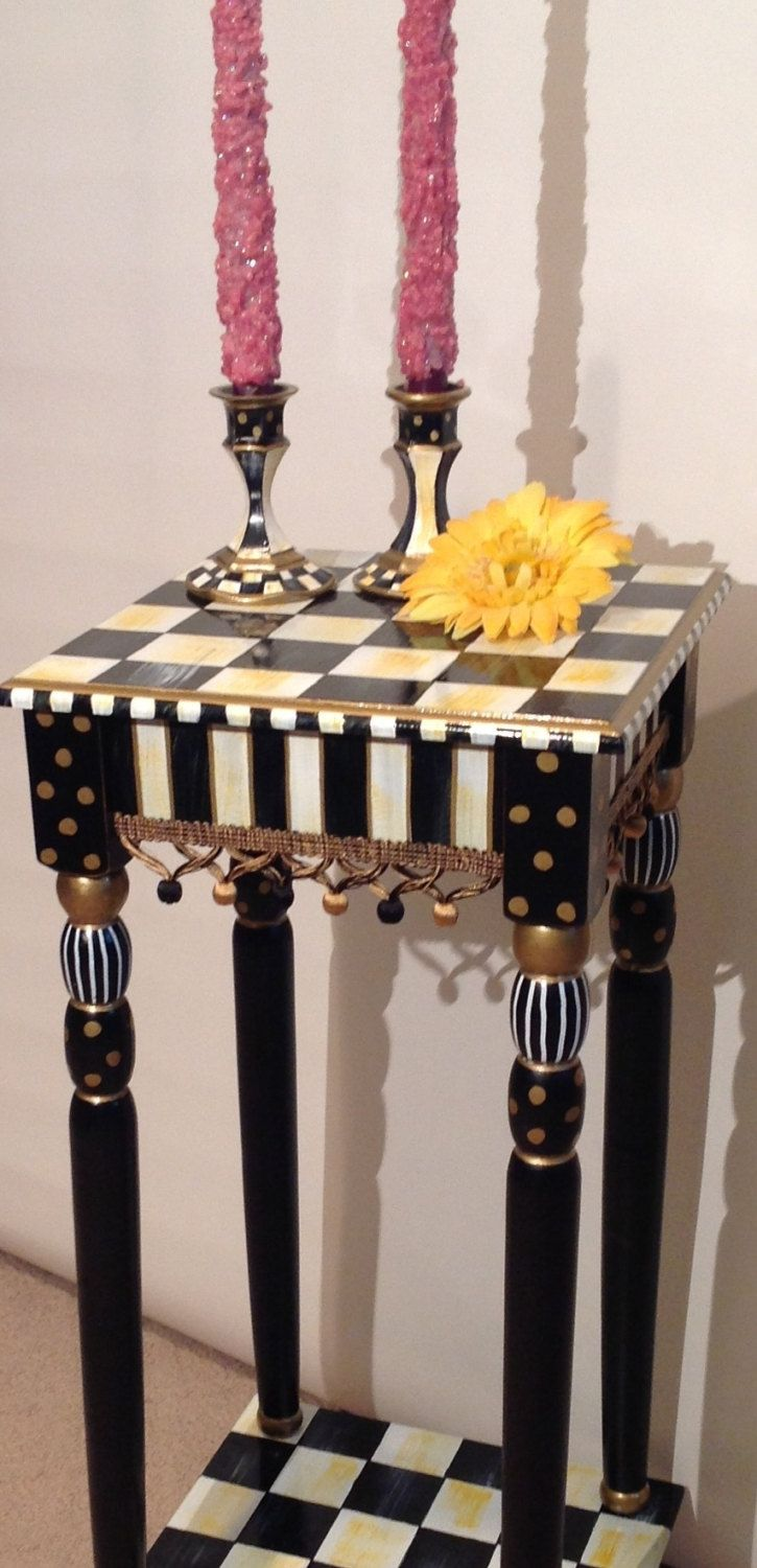 Hand Painted Black and White Accent Side Table - Square 12x12 - Plant Stand. $249.00, via Etsy.