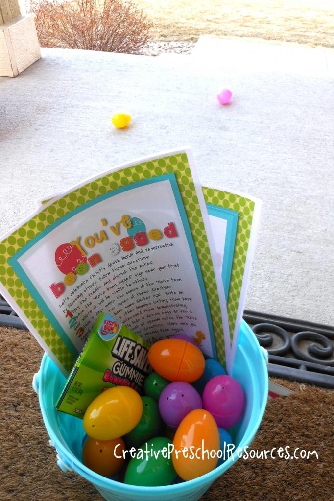 You've Been Egged - gotta do this!  :)Gift Baskets, Cute Ideas, The Neighborhood, Easter Fun, Fun Ideas, Creative Preschool, Preschool Resources, Random Acting, Easter Ideas