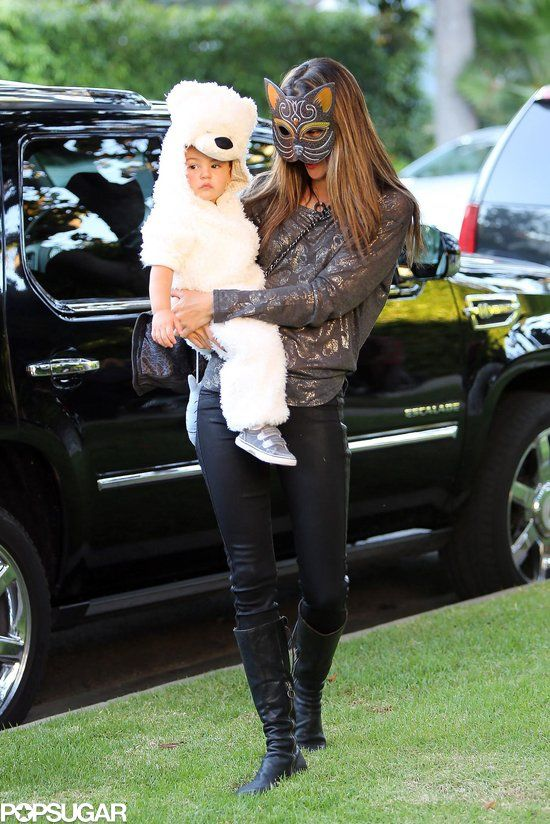 : Alessandra Ambrosio dressed as a cat while taking little Noah out for a trick-or-treating excursion in LA.