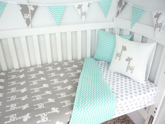 Cot quilt  Giraffes with aqua chevron by MamaAndCub on Etsy