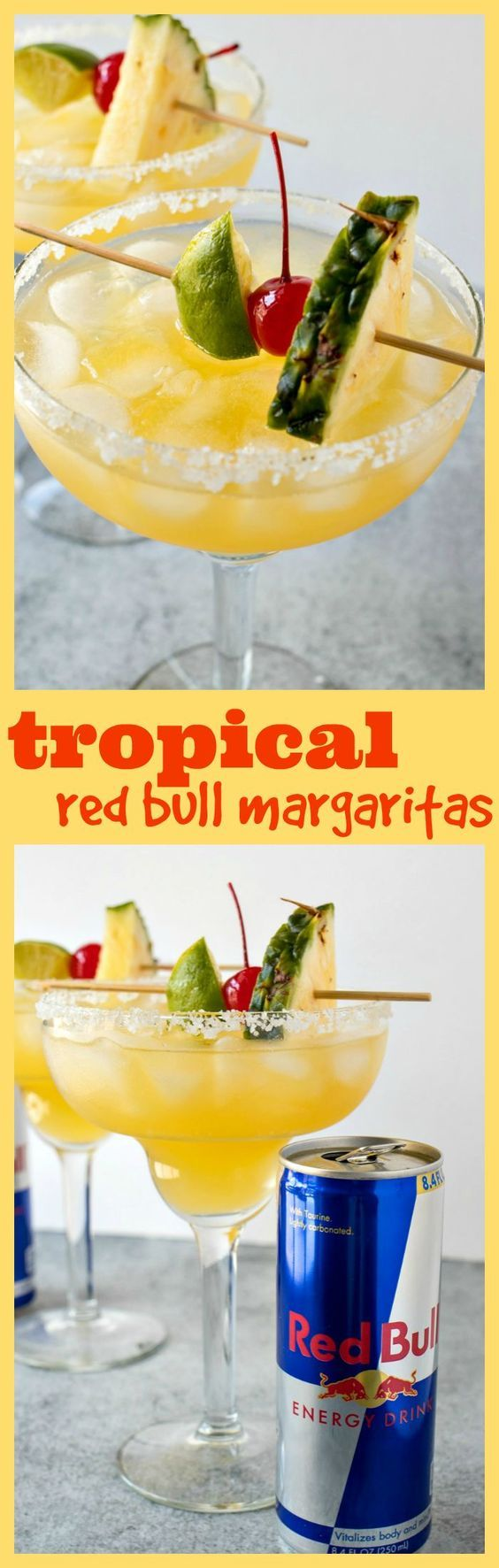 Tropical Red Bull Margaritas – A blend of pineapple, mango, and guava juices is combined with your typical margarita ingredients plus a boost from Red Bull Energy Drink to make these incredible Tropical Red Bull Margaritas. #ad #redbull #margarita #hispan