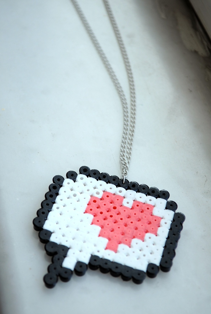 """one new message"" hama beads necklace"