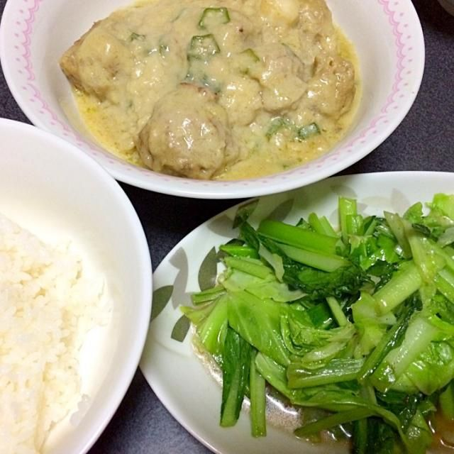 さっぱりこってりと! #夕飯 - 6件のもぐもぐ - 小松菜炒め、白米、ホワイトスノーパラダイスカレー by ms903