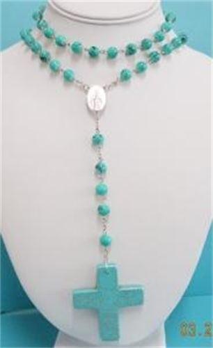Turquoise Rosary Style Necklace. 70cm. $16.00  www.thecrystalcave.vpweb.com.au