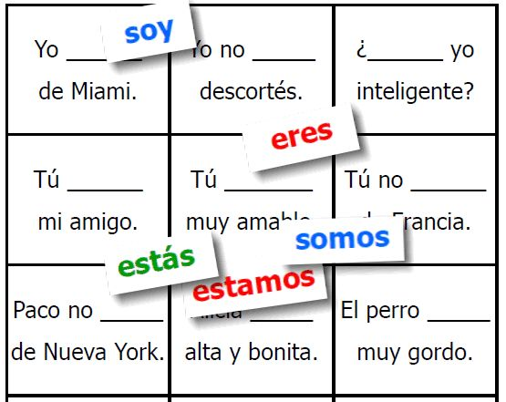 """Simple Spanish game to practice the 2 verbs meaning """"to be"""" -- SER and ESTAR -- FREE and easy to download from FransFreebies.com"""