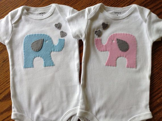 Twin Elephant Set  Boy Girl Twin Set Onesies by HarpersCreation, $33.00