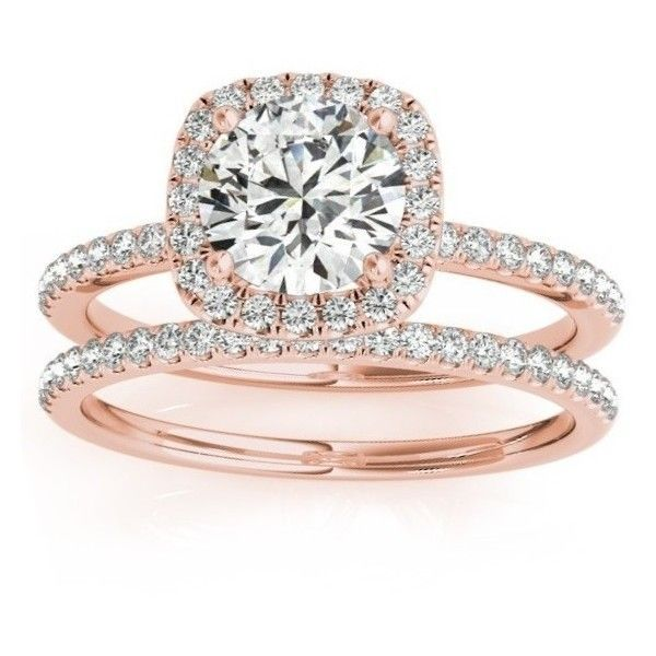 Allurez Square Halo Diamond Bridal Set Ring Setting & Band 14k Rose... ($1,670) ❤ liked on Polyvore featuring jewelry, rings, accessories, rose gold, rose gold ring, pink engagement rings, diamond band ring, diamond engagement rings and pink diamond ring