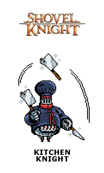 Designed a fun boss for Pixel Dailies in tribute to Yacht Club Games' incredibly imaginative platformer Shovel Knight—one of the best games I've played all year. Meet Kitchen Knight!