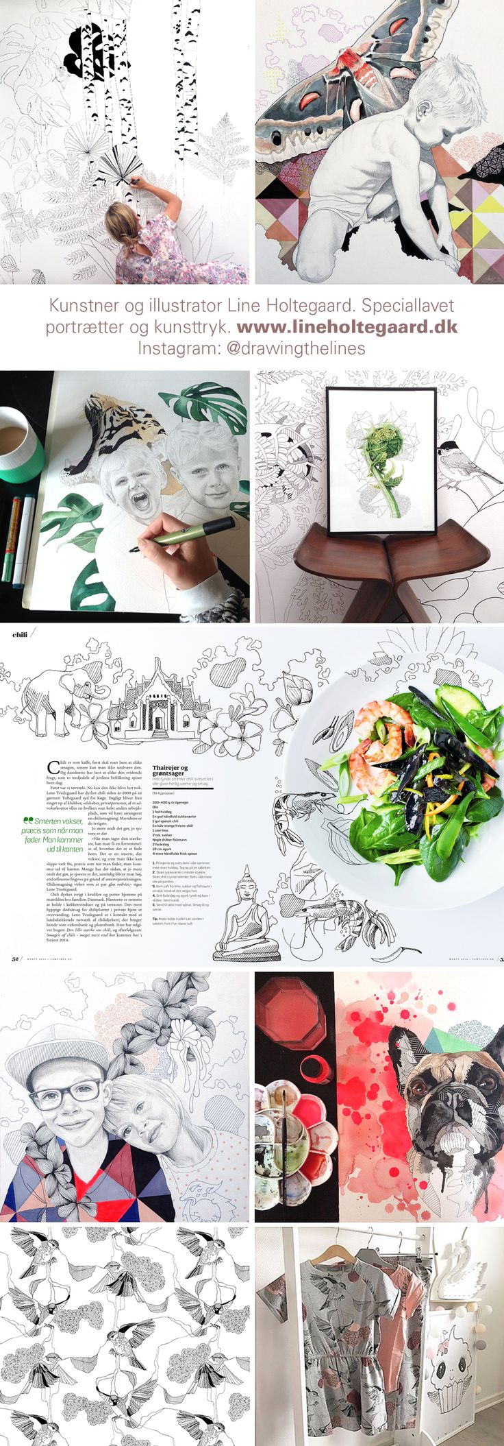 Art, murials, patterns, portraits illustrations for magazines by Line Holtegaard.