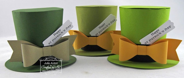 2/19/2013; Julia Aston at 'Create With Me' blog; St. Pat's Top Hat Treat Box; this can also be used for red/white/blue patriotic hats (without the bow)