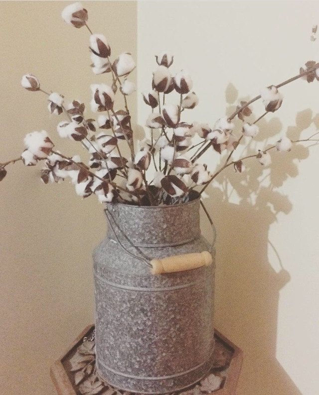 3 Faux Cotton Stems by RestoredRubies on Etsy