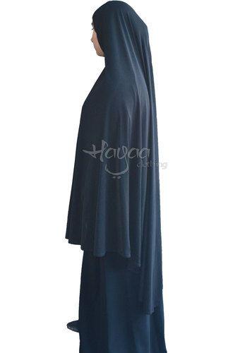 """NAHLA BLACK Hijab Solid Color Big Extra Long Khimar 52"""""""""""