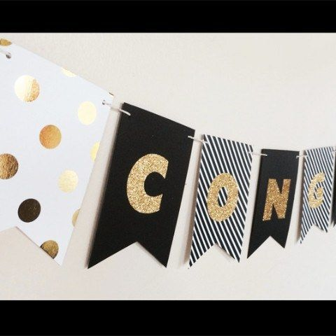 "Create your own ""glitter"" congratulations decorations with these sparkly glitter banners. Perfect for graduation parties, retirement parties and any other special celebrations! Add a touch of glamour"