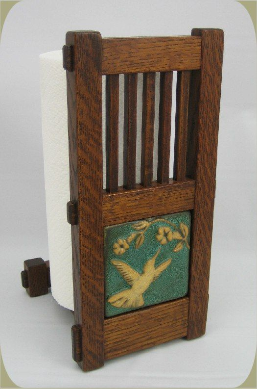 """Mission Style Paper Towel Holder w/ 4"""" Tile.  Made by Homestead Craftsman."""