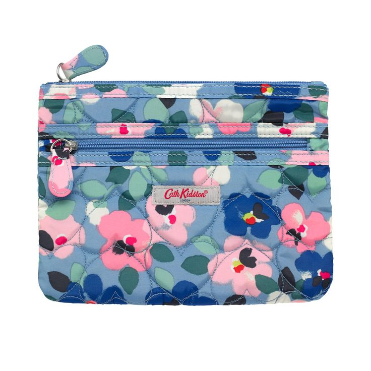 Large Painted Pansies Quilted Heart Double Zip Purse | View All | CathKidston