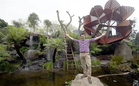 "Filtered rainwater used to creat ""billabong"", a body of water that fluctuates throughout the season - Garden Designer Phillip Johnson celebrates the Trailfinders Australian Garden winning the gold medal and Best in Show at the Chelsea Flower Show 2013."