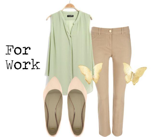 Pastel mint sleeveless blouse. Khaki pants. Blush/nude flats. Work business casual.
