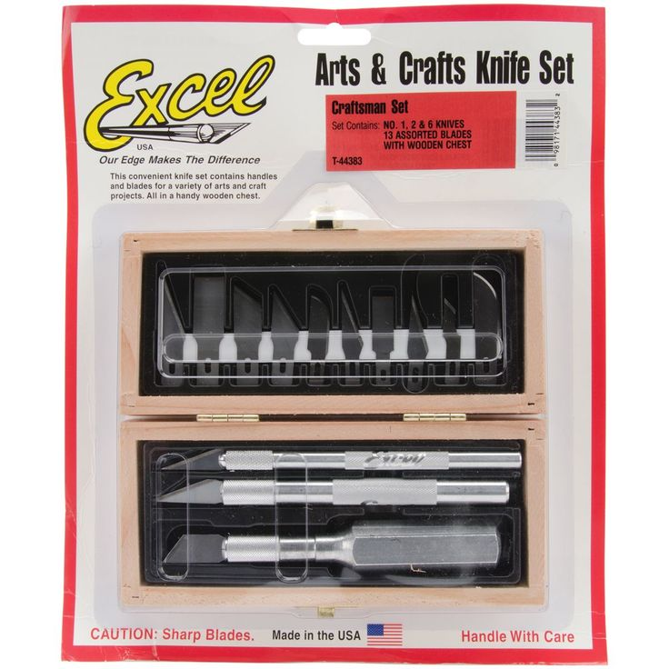 Excel Craftsman Knife Set In Wood Box-