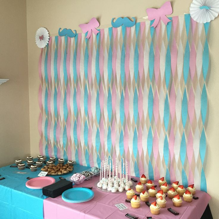 Mustache and bows dessert table, streamer wall. Gender Reveal Party.
